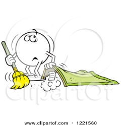 1221560-Clipart-Of-A-Moodie-Character-Sweeping-Dust-Under-The-Rug-Royalty-Free-Vector-Illustration